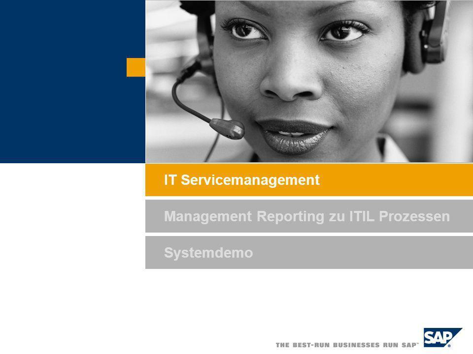 IT Servicemanagement Management Reporting zu ITIL Prozessen Systemdemo
