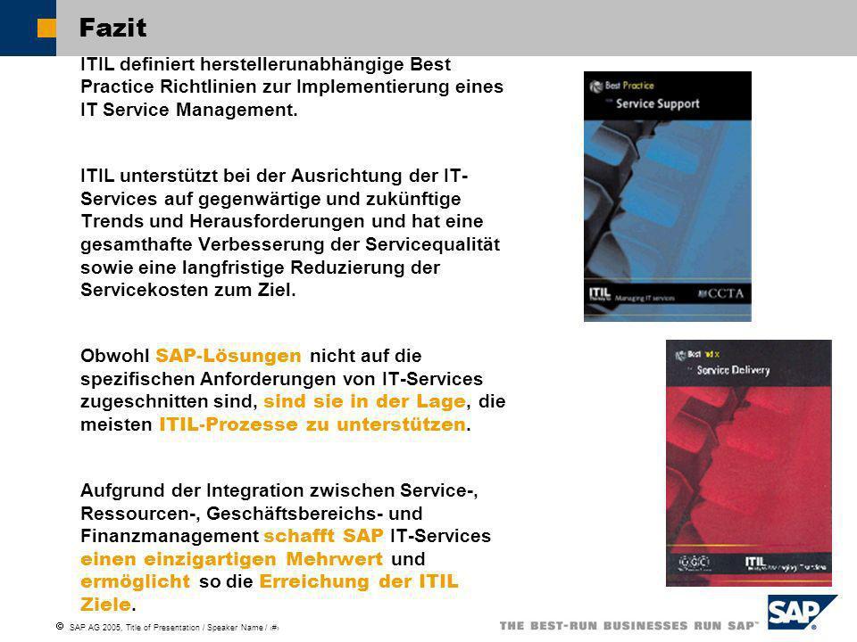 Fazit ITIL definiert herstellerunabhängige Best Practice Richtlinien zur Implementierung eines IT Service Management.