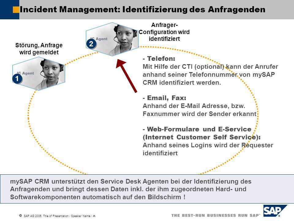 Incident Management: Identifizierung des Anfragenden