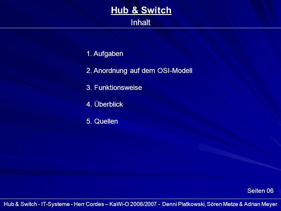 Hub & Switch Inhalt 1. Aufgaben 2. Anordnung auf dem OSI-Modell