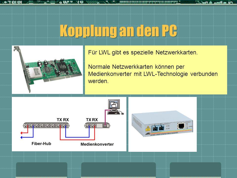Kopplung an den PC Für LWL gibt es spezielle Netzwerkkarten.