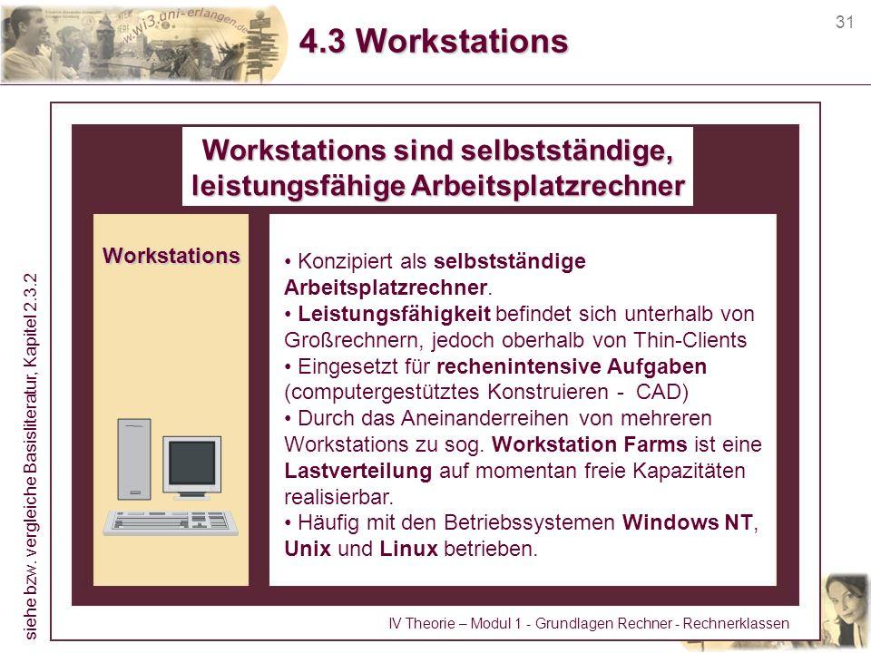 Workstations sind selbstständige, leistungsfähige Arbeitsplatzrechner