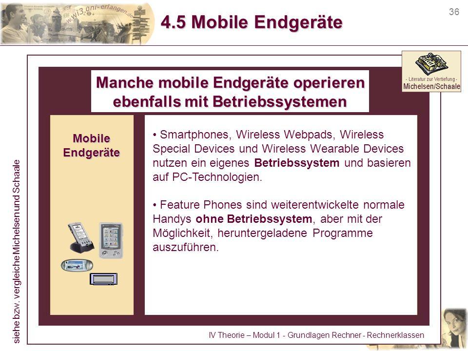 Manche mobile Endgeräte operieren ebenfalls mit Betriebssystemen