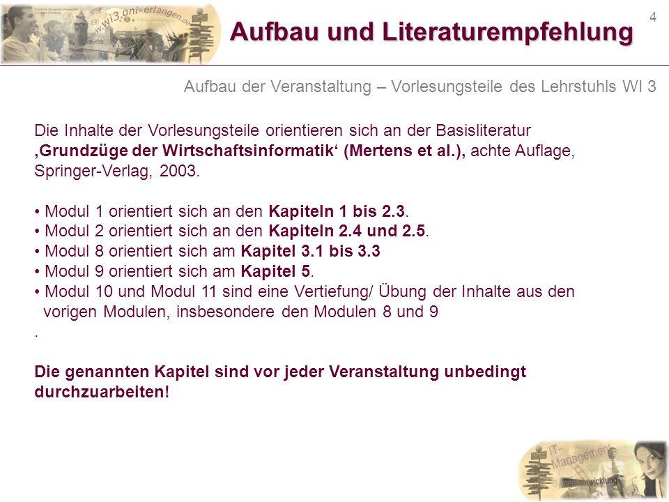 Aufbau und Literaturempfehlung