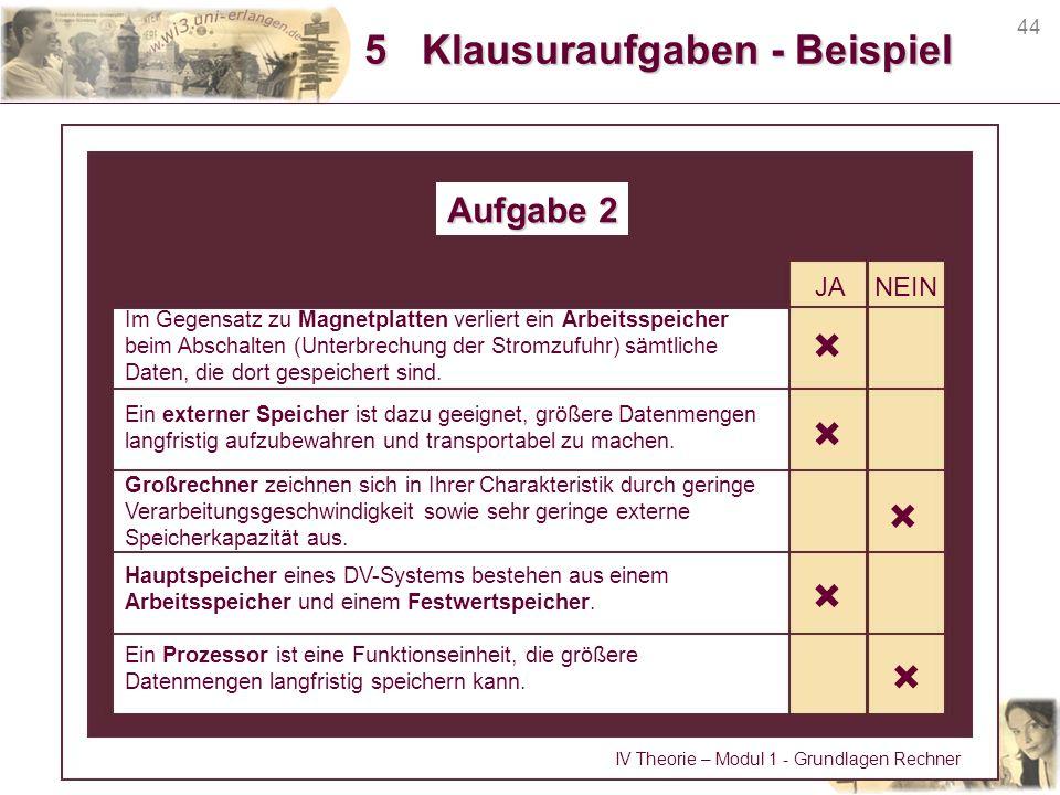 5 Klausuraufgaben - Beispiel