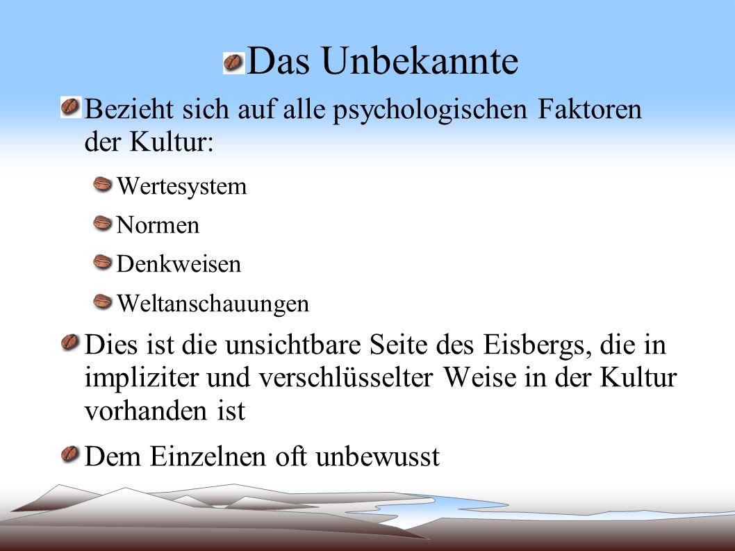 Das UnbekannteBezieht sich auf alle psychologischen Faktoren der Kultur: Wertesystem. Normen. Denkweisen.