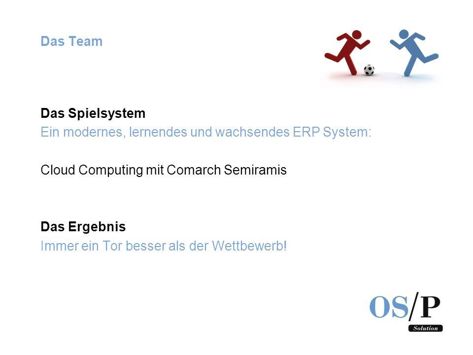Das Team Das Spielsystem. Ein modernes, lernendes und wachsendes ERP System: Cloud Computing mit Comarch Semiramis.