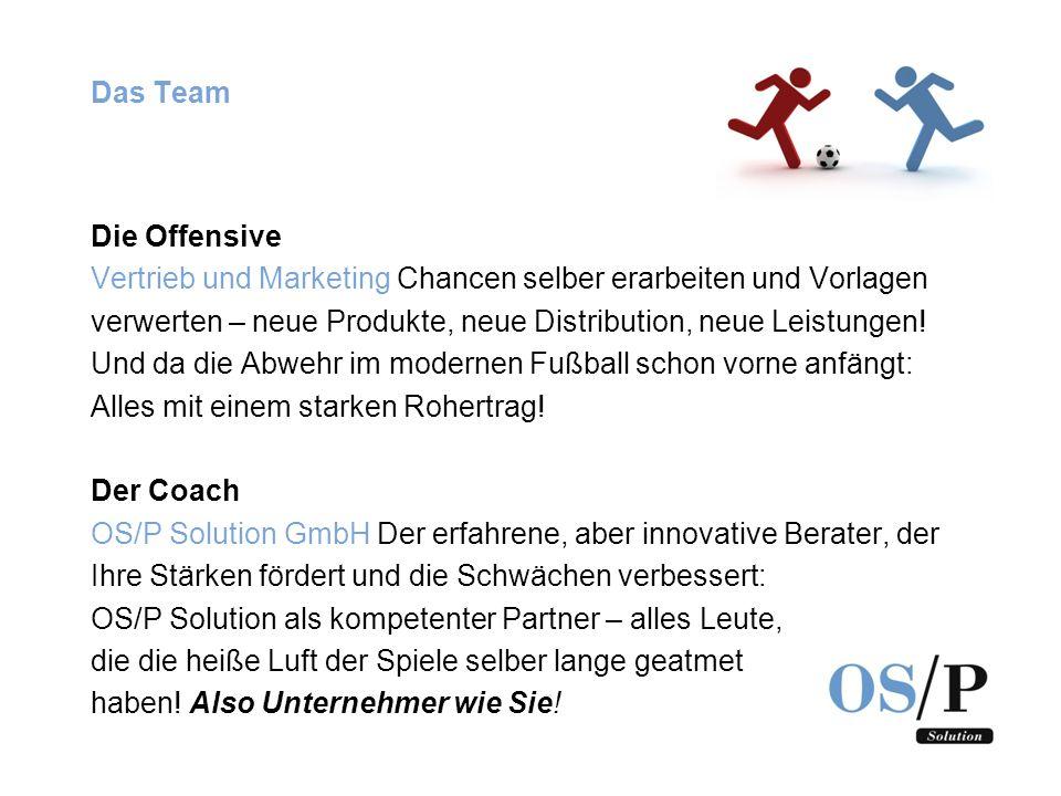 Das Team Die Offensive. Vertrieb und Marketing Chancen selber erarbeiten und Vorlagen.