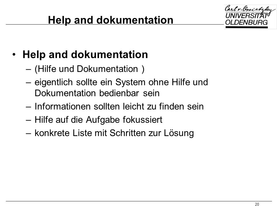 Help and dokumentation