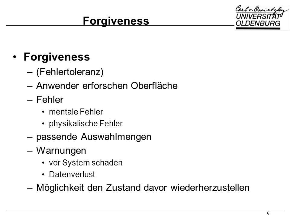 Forgiveness Forgiveness (Fehlertoleranz)