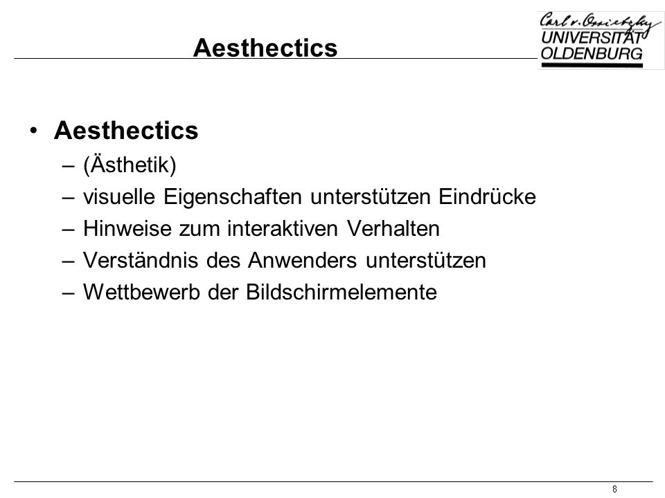 Aesthectics Aesthectics (Ästhetik)