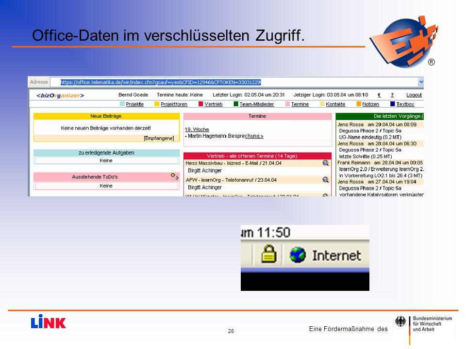 Office-Daten im verschlüsselten Zugriff.