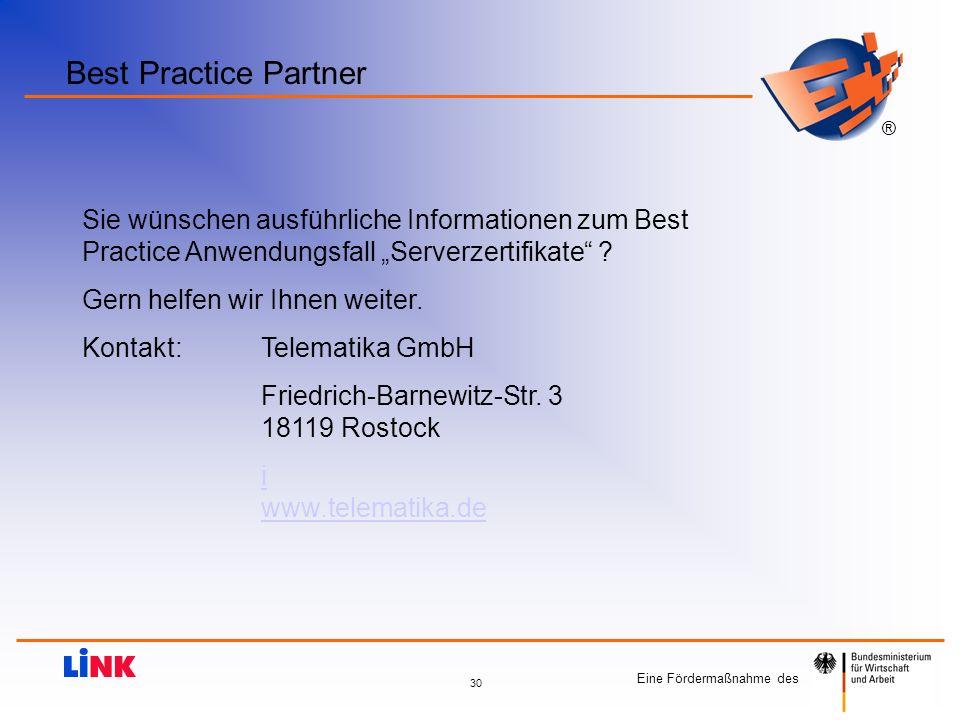 """Best Practice Partner Sie wünschen ausführliche Informationen zum Best Practice Anwendungsfall """"Serverzertifikate"""