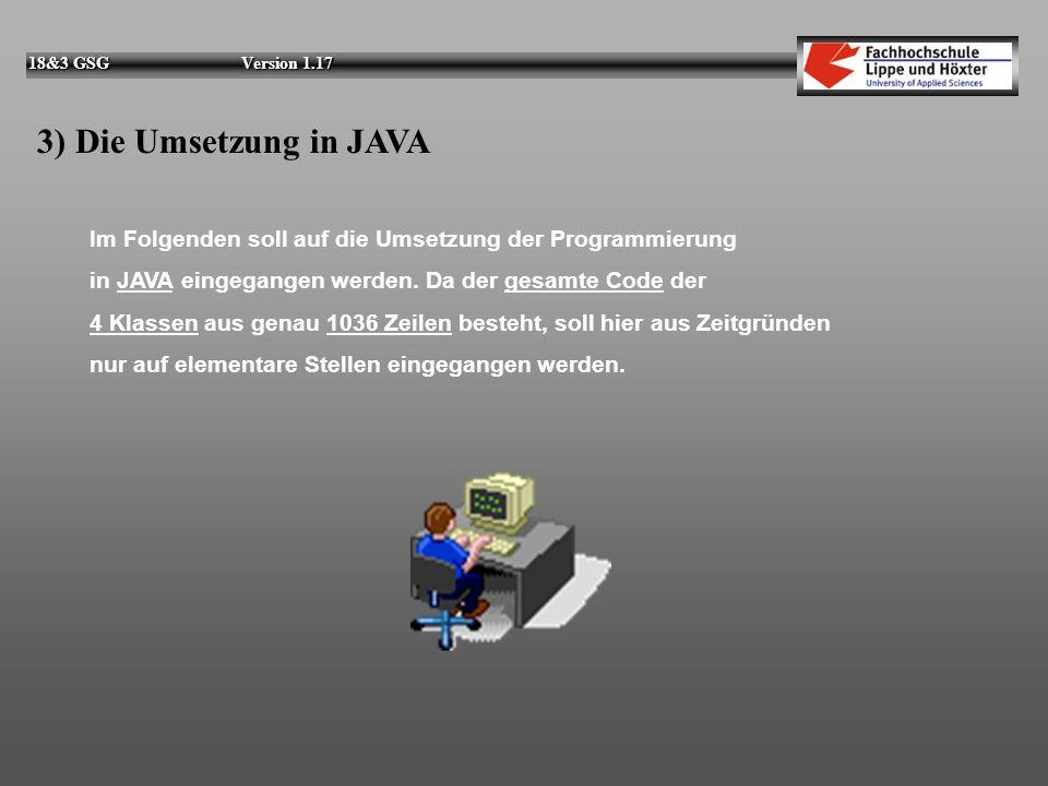 3) Die Umsetzung in JAVA Im Folgenden soll auf die Umsetzung der Programmierung. in JAVA eingegangen werden. Da der gesamte Code der.