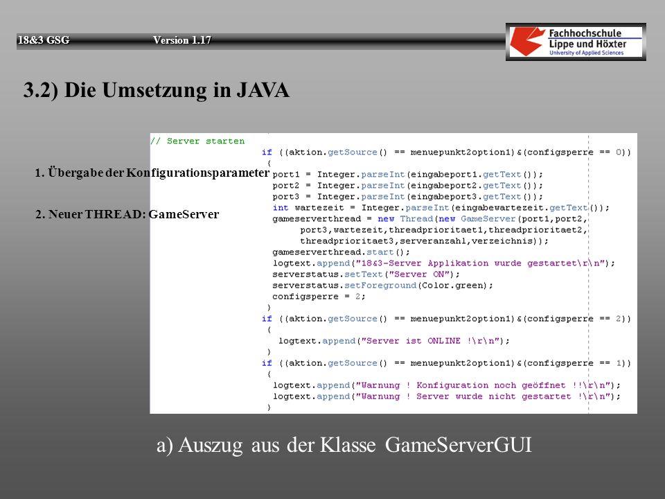 a) Auszug aus der Klasse GameServerGUI