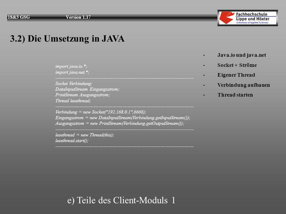 e) Teile des Client-Moduls 1