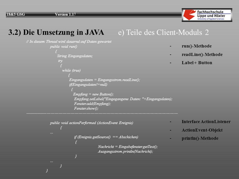 e) Teile des Client-Moduls 2