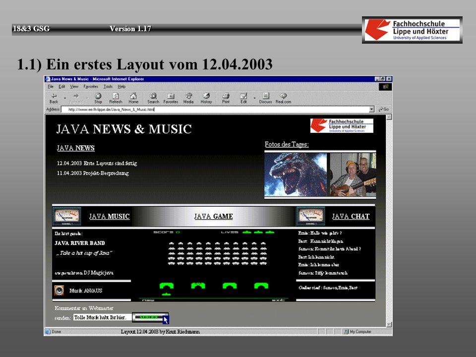 1.1) Ein erstes Layout vom 12.04.2003