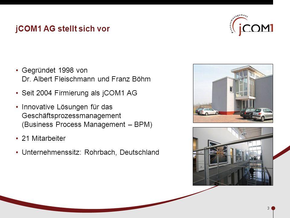 jCOM1 AG stellt sich vor Gegründet 1998 von Dr. Albert Fleischmann und Franz Böhm. Seit 2004 Firmierung als jCOM1 AG.
