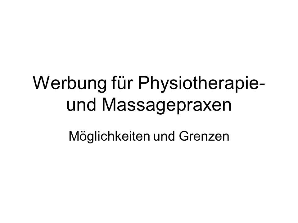 Werbung für Physiotherapie- und Massagepraxen