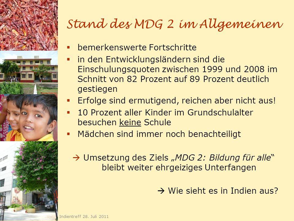 Stand des MDG 2 im Allgemeinen