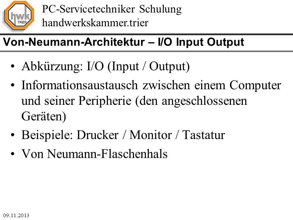 Von-Neumann-Architektur – I/O Input Output