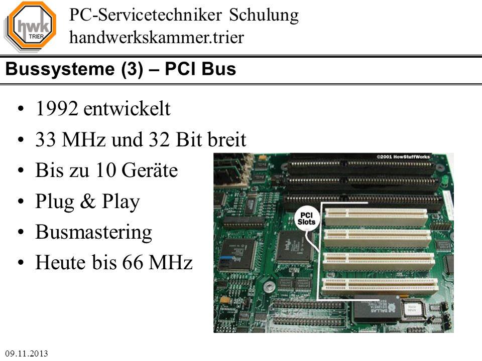 1992 entwickelt 33 MHz und 32 Bit breit Bis zu 10 Geräte Plug & Play