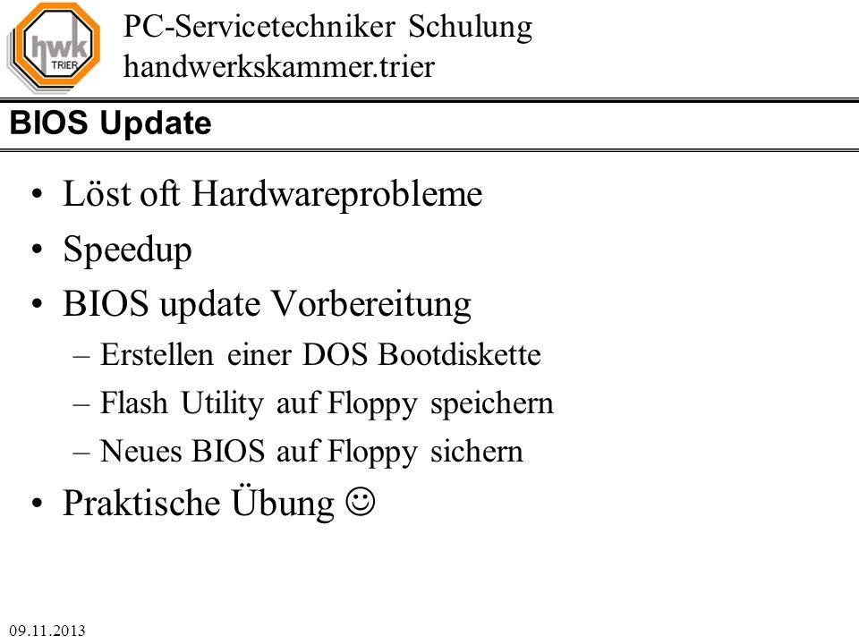 Löst oft Hardwareprobleme Speedup BIOS update Vorbereitung
