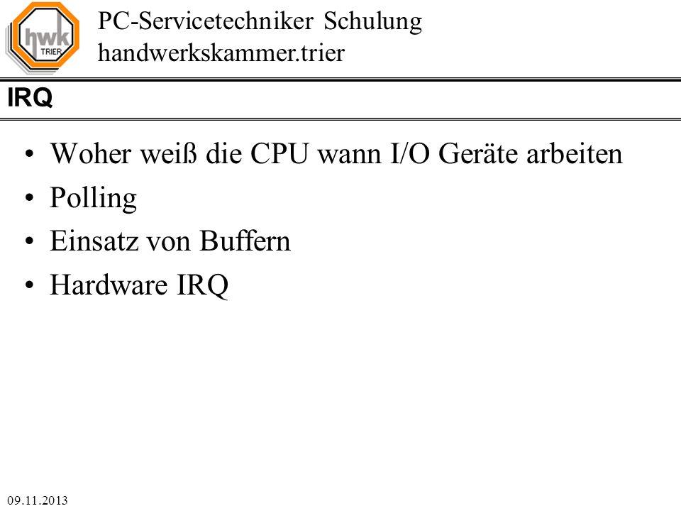 Woher weiß die CPU wann I/O Geräte arbeiten Polling