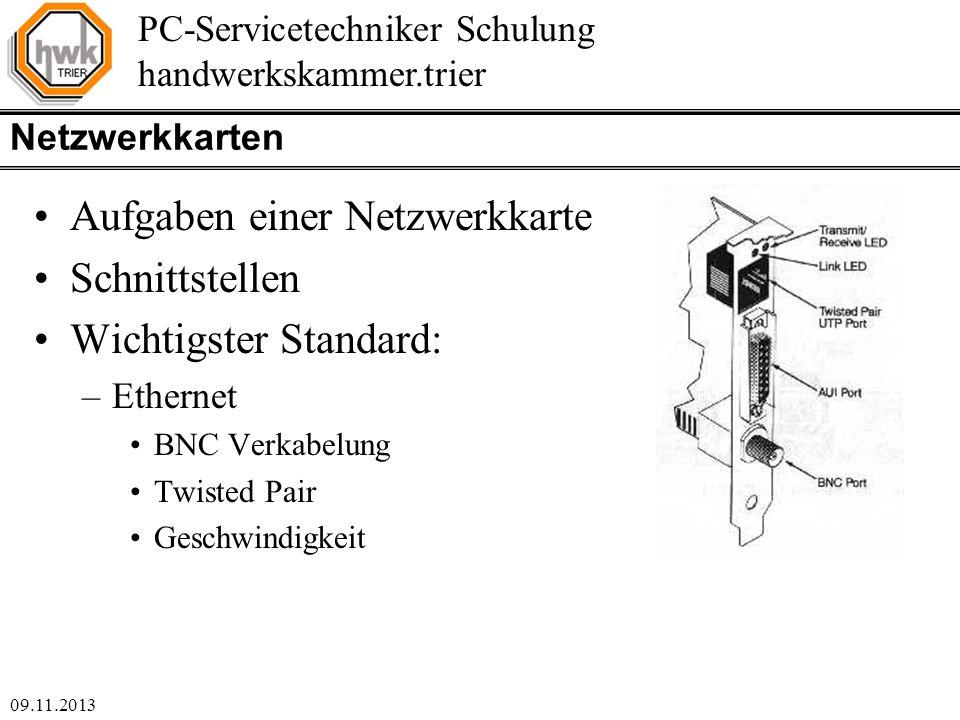 Aufgaben einer Netzwerkkarte Schnittstellen Wichtigster Standard: