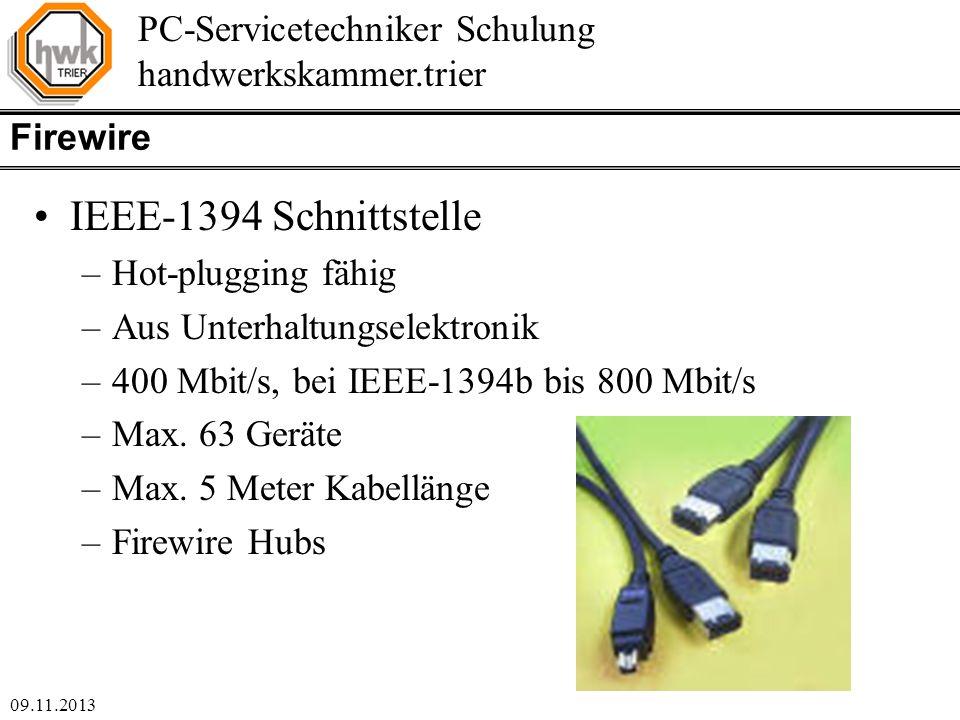 IEEE-1394 Schnittstelle Firewire Hot-plugging fähig