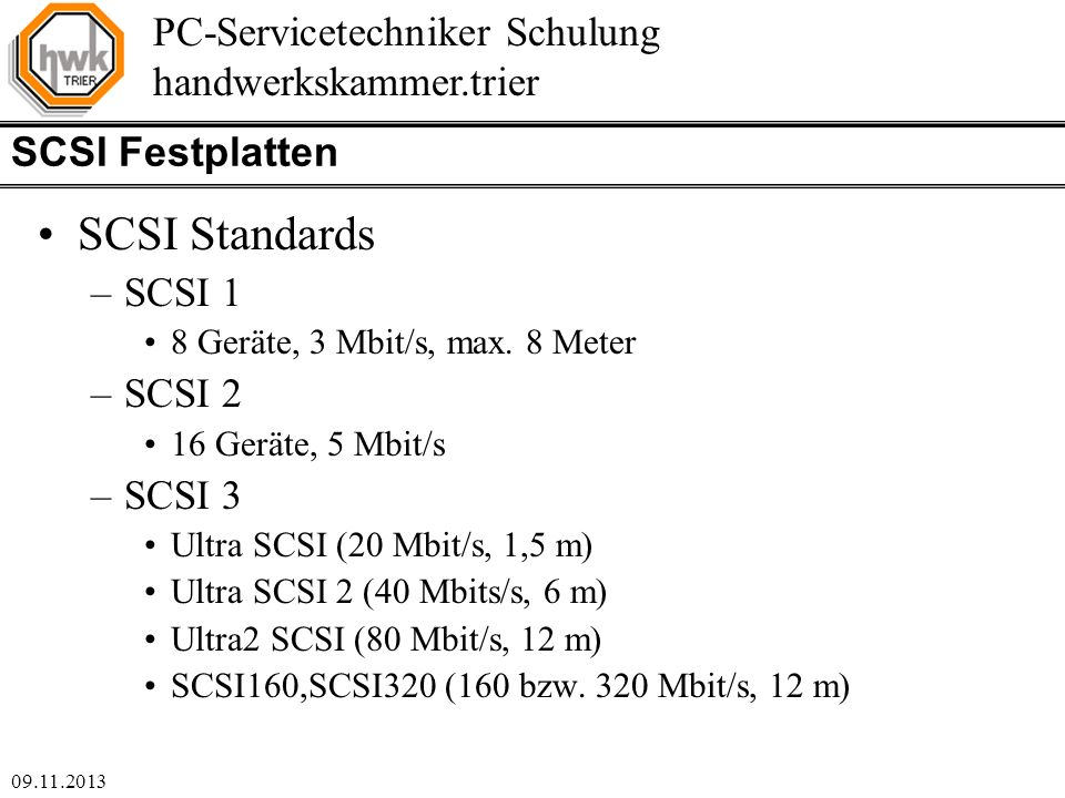 SCSI Standards SCSI Festplatten SCSI 1 SCSI 2 SCSI 3