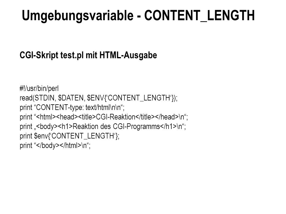 Umgebungsvariable - CONTENT_LENGTH