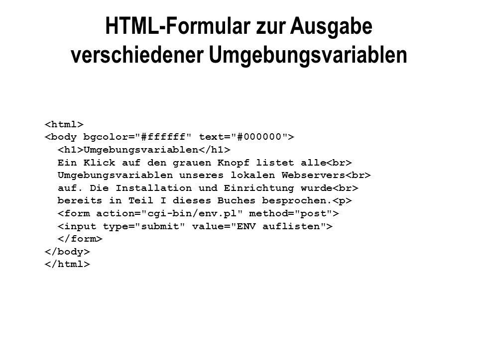 HTML-Formular zur Ausgabe verschiedener Umgebungsvariablen