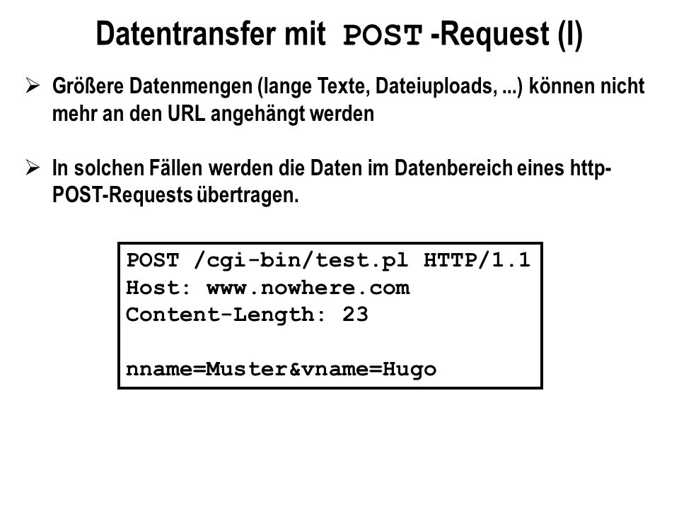 Datentransfer mit POST -Request (I)