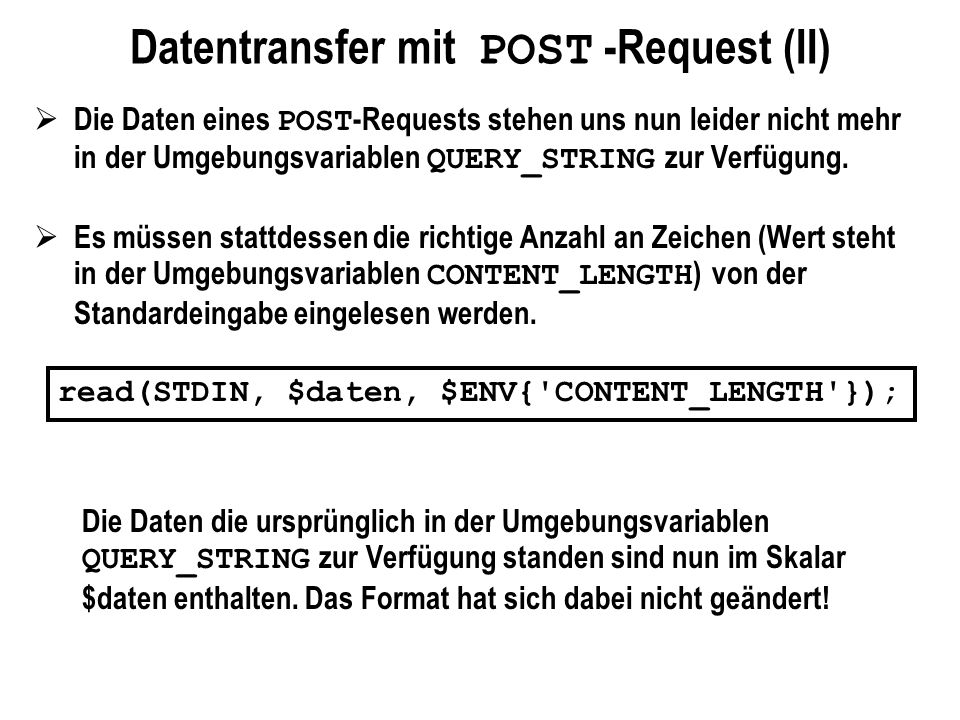 Datentransfer mit POST -Request (II)