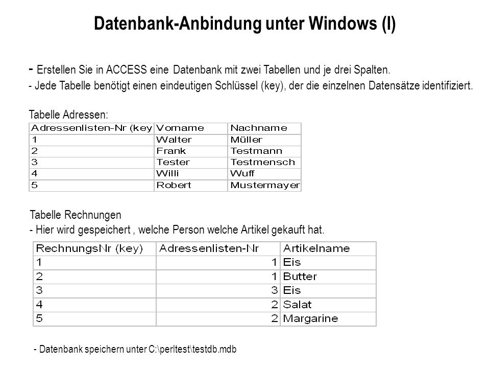 Datenbank-Anbindung unter Windows (I)
