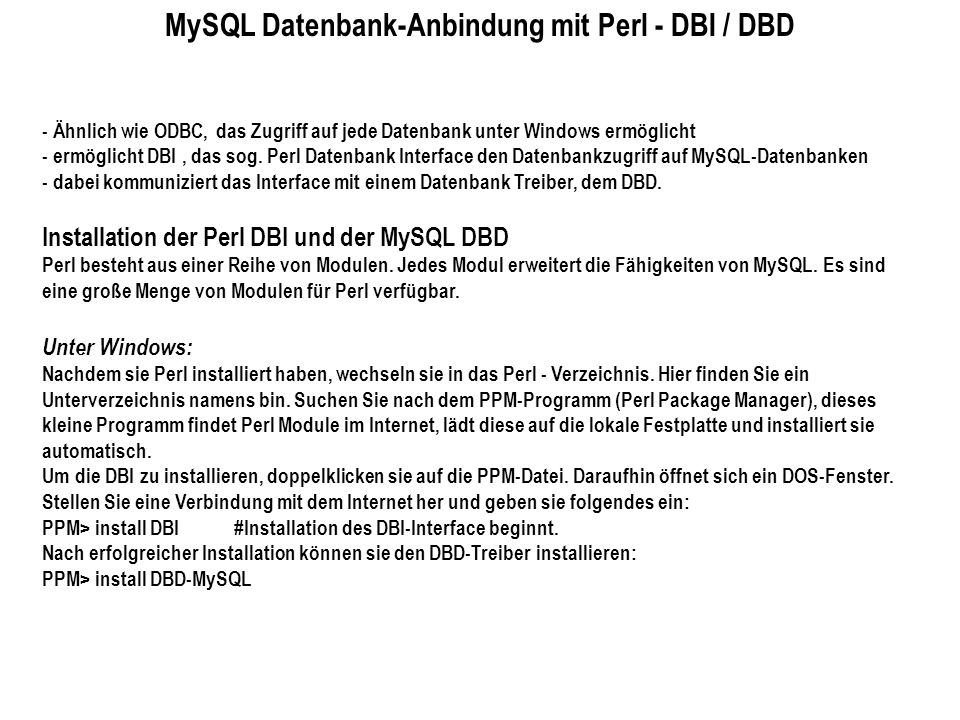 MySQL Datenbank-Anbindung mit Perl - DBI / DBD