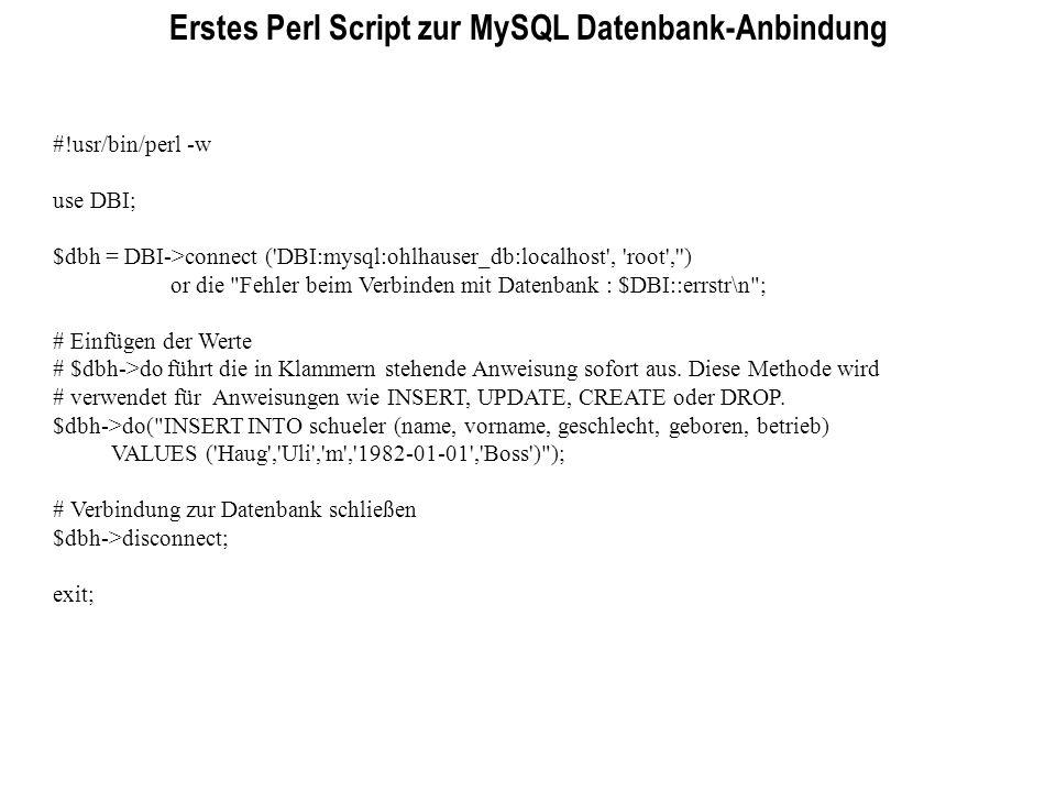 Erstes Perl Script zur MySQL Datenbank-Anbindung