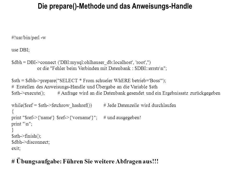 Die prepare()-Methode und das Anweisungs-Handle