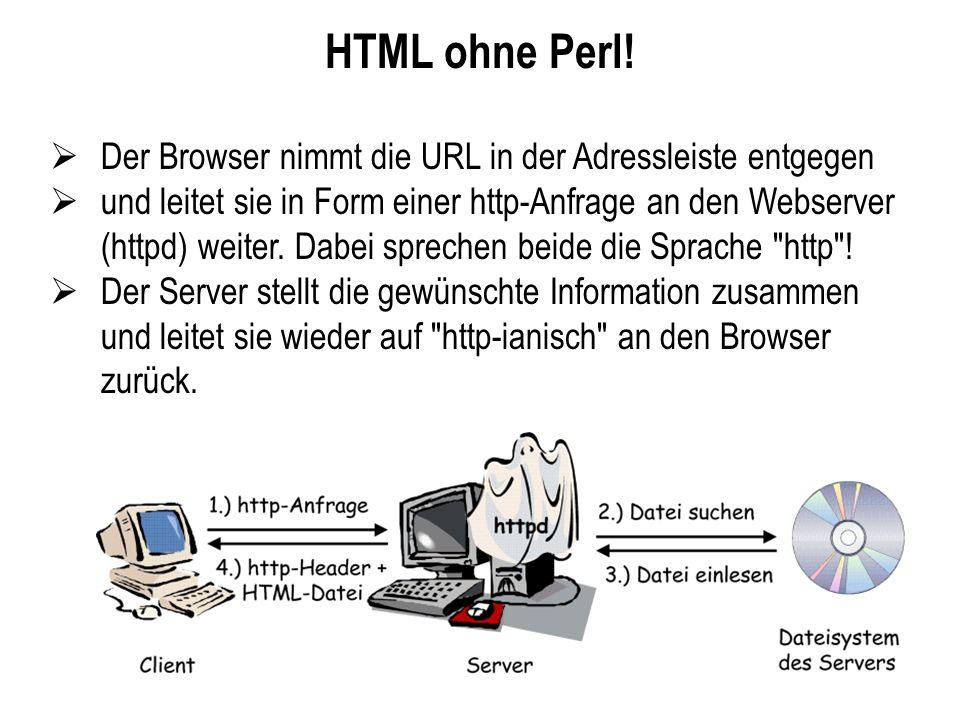 HTML ohne Perl! Der Browser nimmt die URL in der Adressleiste entgegen