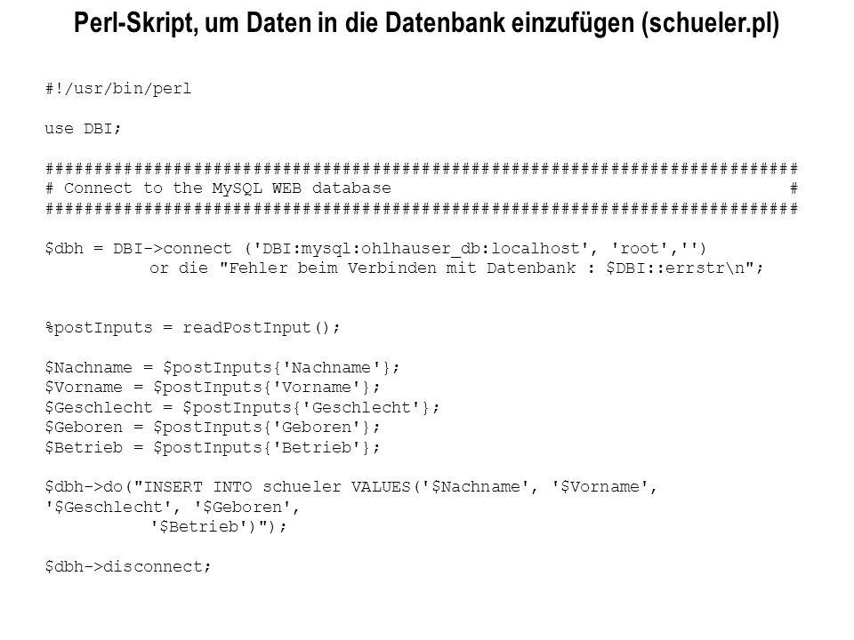 Perl-Skript, um Daten in die Datenbank einzufügen (schueler.pl)