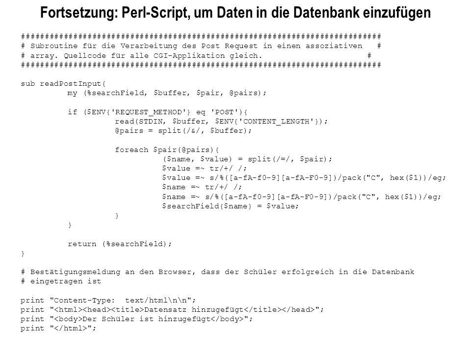 Fortsetzung: Perl-Script, um Daten in die Datenbank einzufügen