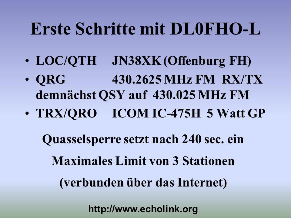 Erste Schritte mit DL0FHO-L