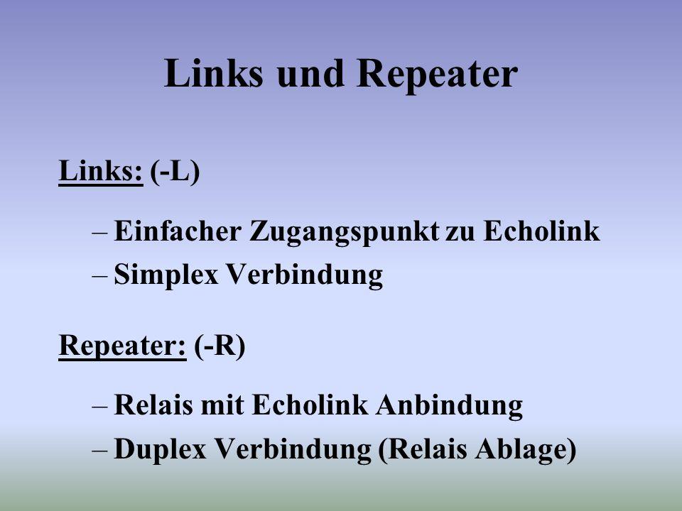 Links und Repeater Links: (-L) Einfacher Zugangspunkt zu Echolink