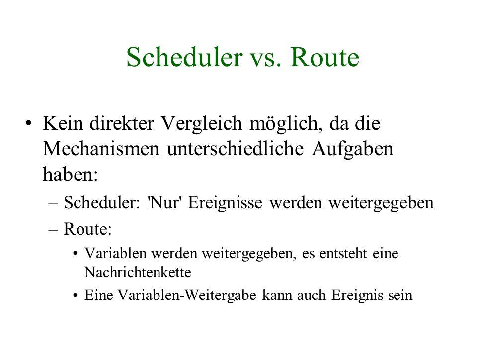 Scheduler vs. Route Kein direkter Vergleich möglich, da die Mechanismen unterschiedliche Aufgaben haben: