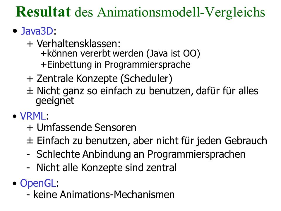 Resultat des Animationsmodell-Vergleichs