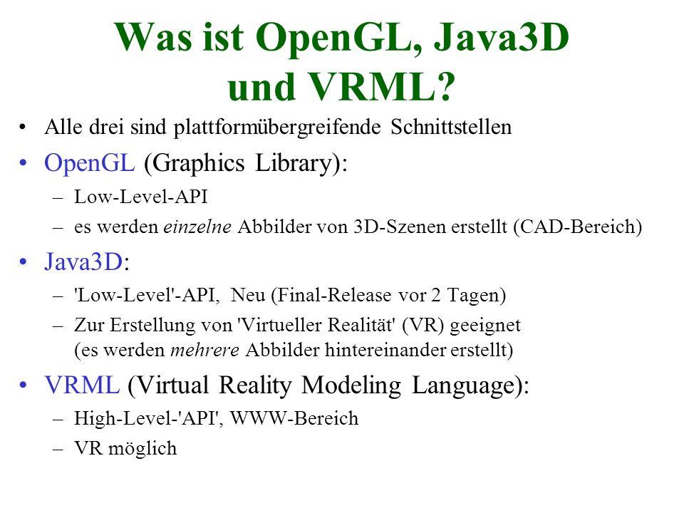 Was ist OpenGL, Java3D und VRML