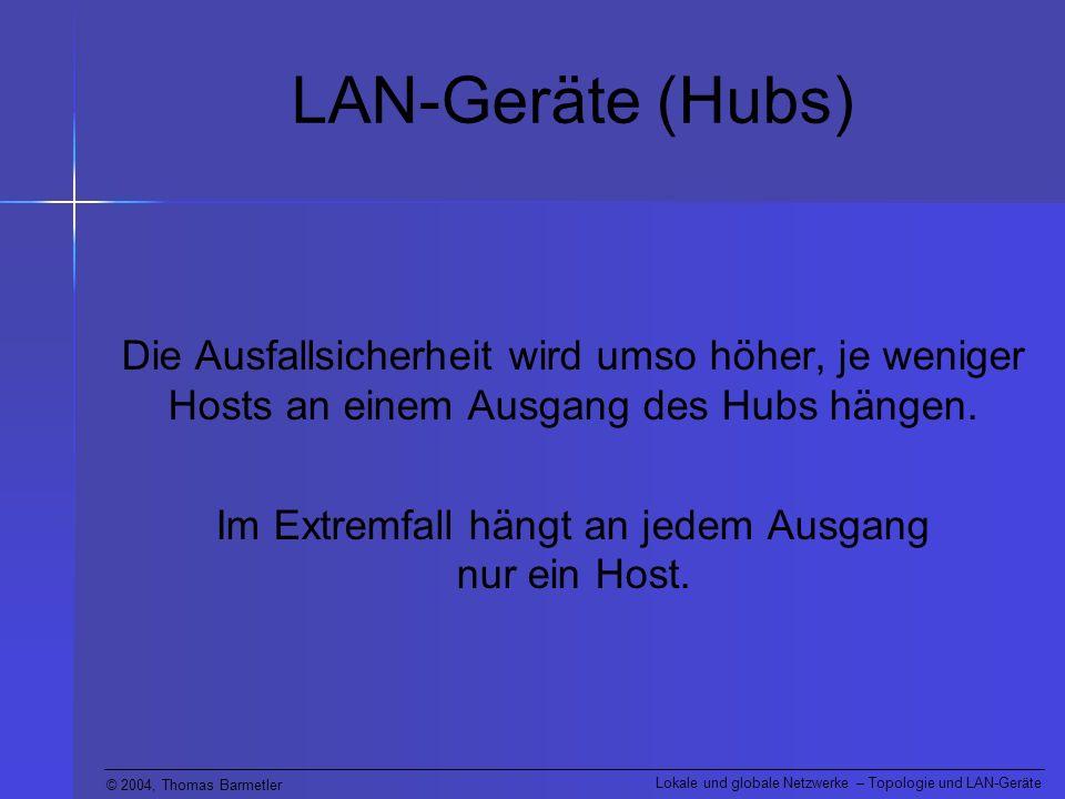 Im Extremfall hängt an jedem Ausgang nur ein Host.