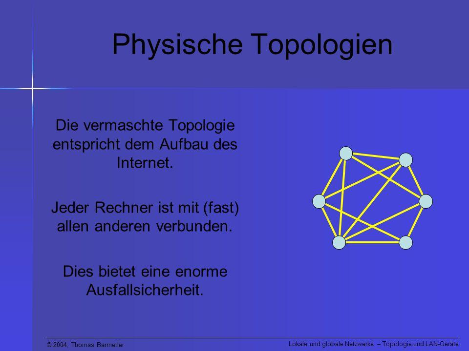 Physische Topologien Die vermaschte Topologie entspricht dem Aufbau des Internet. Jeder Rechner ist mit (fast) allen anderen verbunden.